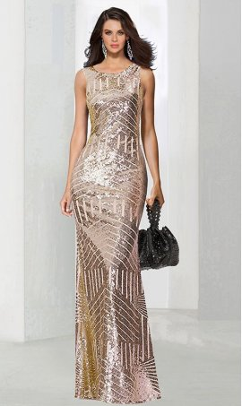 Chic breathtaking high neckline pattern sequined Dress Gown