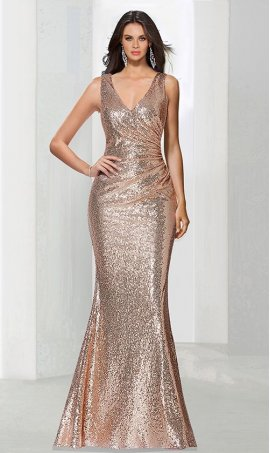 Chic captivating low v neck floor length sequin bridesmaid prom formal evening Dress Gown