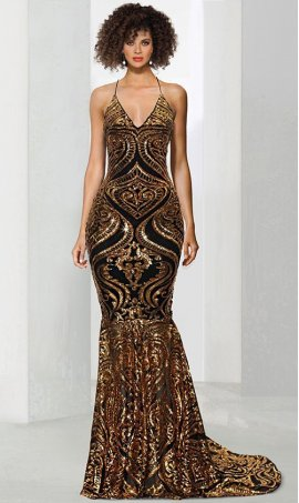 Chic stunning v neck spaghetti straps open lace up tie back patterned sequin mermaid Dress Gown