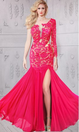 Chic flawless one-shoulder sheer illusion long sleeved beaded lace chiffon Dress Gown