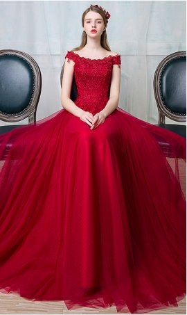 Chic graceful lace bodice off-the-shoulder tulle ball Dress Gown prom formal evening dreses
