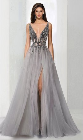 Charming beaded plunging deep V-neckline high thigh slit tulle prom formal evening Dress Gown