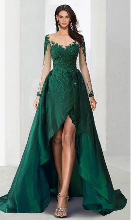 Chic unique beaded lace bodice illusion long sleeve satin high low hi lo Dress Gown