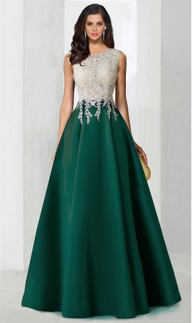 Chic color block two tone beaded lace applique satin ball Dress Gown Prom Formal Evening Dress Gown