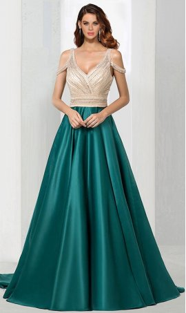 Chic breathtaking highly beaded cold shoulder deep v-neck satin a line ball Dress Gown