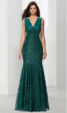 Chic sophisticated v neck floor length satin lace evening Dress Gown