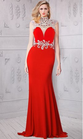 Chic extravagant beaded cap sleeve illusion open back backless jersey Dress Gown