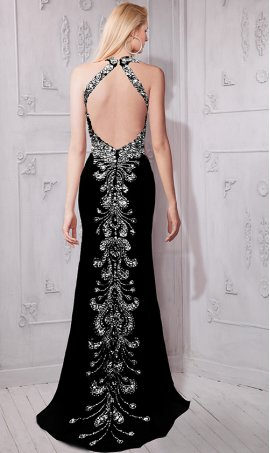 Flawless jewelled plunging v neckline open back jersey Dress Gown