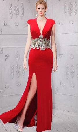 stylish jewelled sheer illusion plunging v neckline cap sleeves jersey Dress Gown