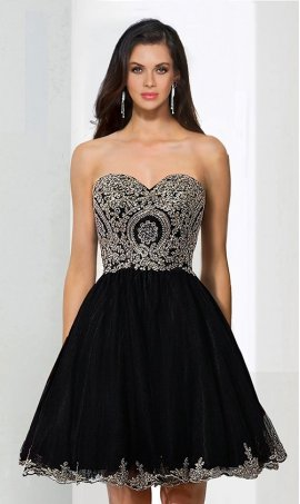 Chic flawless strapless sweetheart corset style beaded lace applique short tulle homecoming Dress Gown