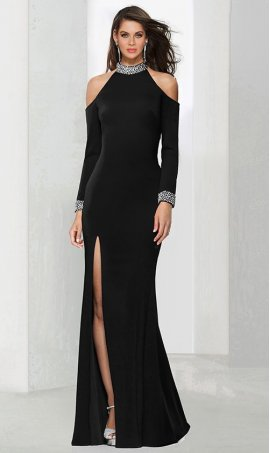 Chic beaded high halter neckline cold shoulder high thigh slit jersey Dress Gown