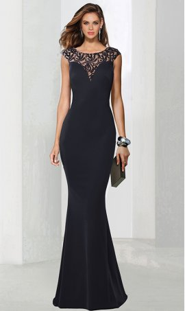Chic beaded illusion lace round neckline fitted jersey Dress Gown
