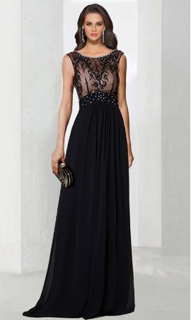 Chic breathtaking beaded high neck floor length evening Dress Gown