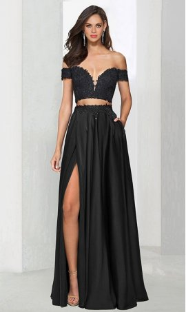 Chic unique design! captivating beaded lace applique off the shoulder high thigh slit satin Dress Gown