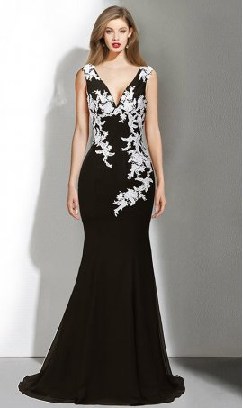 Chic contrasting lace applique floor length slim-fittting jersey Dress Gown