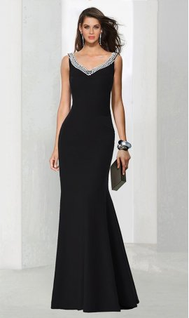 Chic curvy beaded triple strands embellished floor length jersey Dress Gown