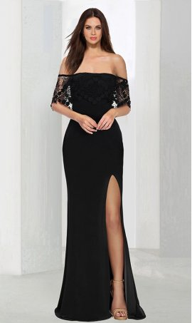 Chic delicate lace off the shoulder sleeves high slit jersey Dress Gown
