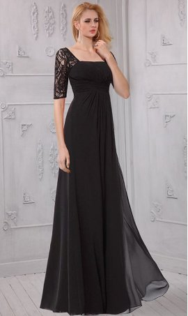 Flawless half sleeves sequare neckline floor length chiffon Dress Gown