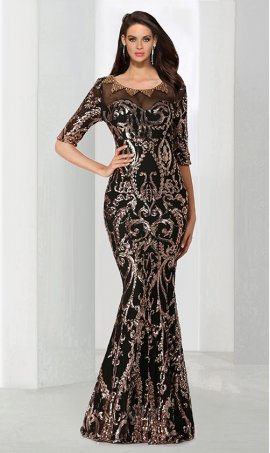 Chic captivating patternedly sequined short sleeve floor length mermaid sequin Dress Gown
