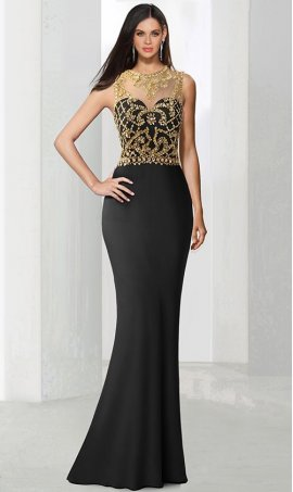 Charming gold crystal embellished high neck fit flare jersey Dress Gown