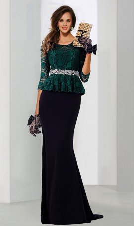 dramaticthree quarter length sleeve beaded lace top jersey mermaid Dress Gown