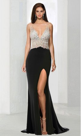 Chic jewelled illusion plunging v-neck fitted thigh high slit jersey Dress Gown