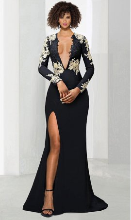 elegant lace applique long sleeves plunging neckline open back fit flare jersey Dress Gown