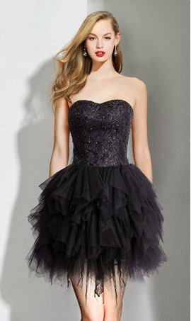 Chic enchanted lace bodice tired tulle skirt short little black Dress Gown