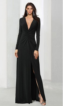 Chic on trend long sleeves plunging v neck high slit jersey Dress Gown