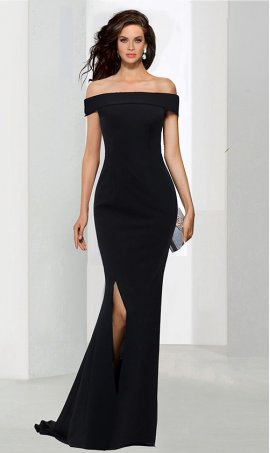 Charming off the shoulder high thigh slit jersey Dress Gown