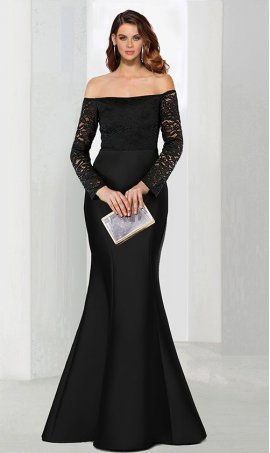 Chic breathtaking off the shoulder long sleeves lace jersey mermaid Dress Gown