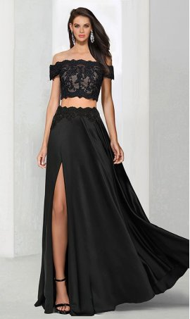Chic stellar off the shoulder lace applique high thigh slit two piece satin Dress Gown