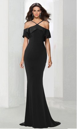 Chic unforgettable cold shoulder ruffled full length jersey Dress Gown