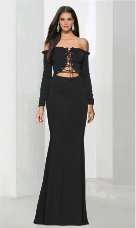 Chic unique design lace-up front off the shoulder long sleeve jersey Dress Gown