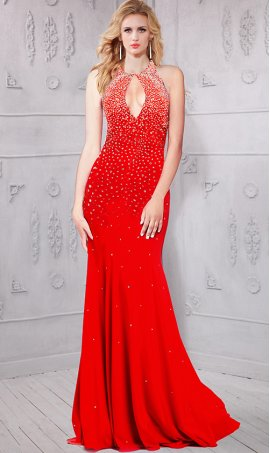 Chic luxurious beaded keyhole neckline open back jersey Dress Gown