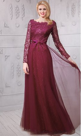 Chic luxurious beaded lace tulle long sleeve evening Dress Gown