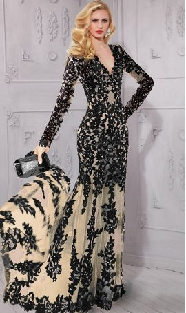 Chic luxurious deep v-neck long sleeve tulle beaded lace applique Dress Gown