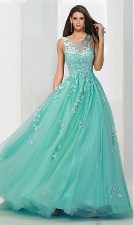Chic illusion round neckline lace applique a line tull ball Dress Gown Prom Formal Evening Dress Gown