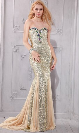 Gorgeous chic glitzy multi-colored stones accented strapless sweetheart high side slit sequin Dress Gown