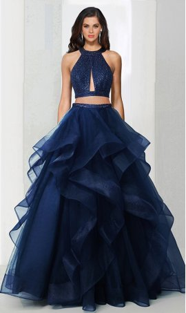 Charming beaded high halter neckline two piece tiered tulle ball Dress Gown Prom Formal Evening Dress Gown