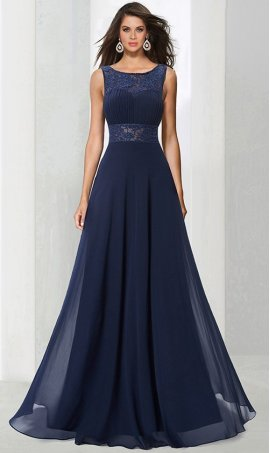 Chic captivating beaded high neck illusion lace chiffon Dress Gown