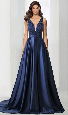 Chic beaded plunging v neckline satin ball Dress Gown Prom Formal Evening Dress Gown