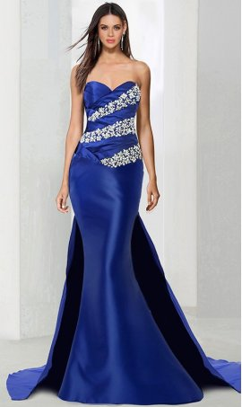 Chic flirty beaded strapless sweetheart satin mermaid Dress Gown