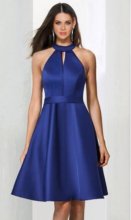 Chic glamorous halter choker neckline a line short satin bridesmaid cocktail party Dress Gown