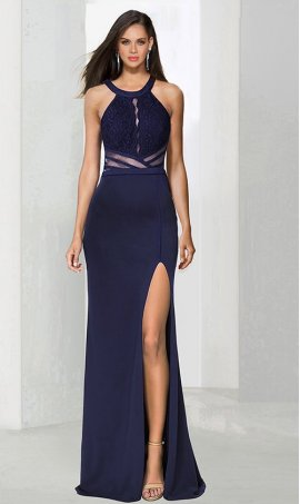 Chic illusion high halter mesh cut outs lace bodice high thigh slit jersey Dress Gown