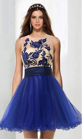 Chic ultra chic illusion high neck floral lace applique short tulle Prom Formal Evening Dress Gown