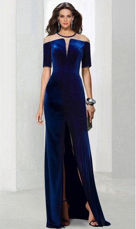 Chic magnificent beaded illusion short sleeves front slit velvet Dress Gown