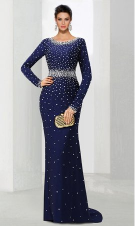 Chic fully rhinestones scattered long sleeves jersey Prom Formal Evening Dress Gown