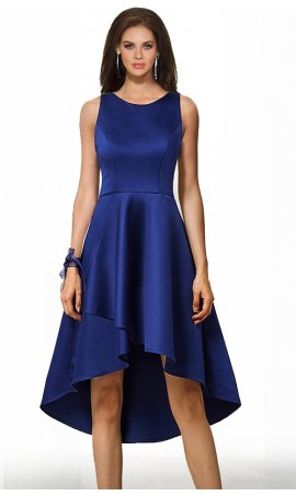 Chic ravishing round neck high low short satin bridesmaid prom cocktail party Dress Gown