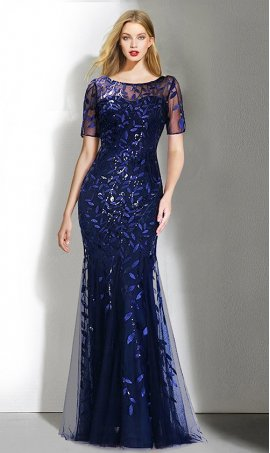 Chic mesmerizing short sleeve high neck sequined mermaid Dress Gown